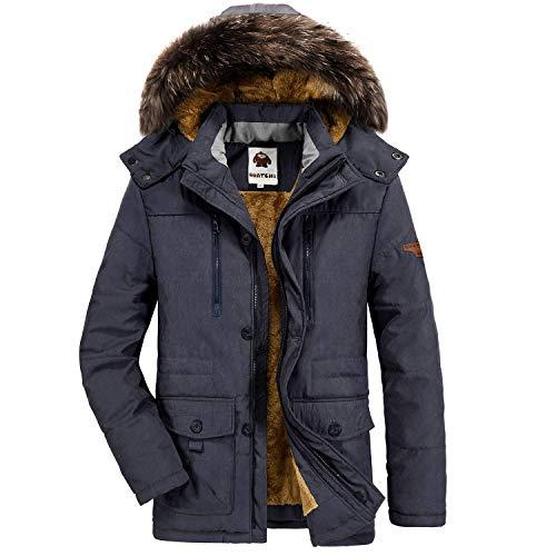 Yavero Winterjacke Herren Parka Gefüttert Baumwolle Mantel mit Pelzkragen Jacke Warm Outdoor Kapuzenjacke mit Fell Blau X-Large
