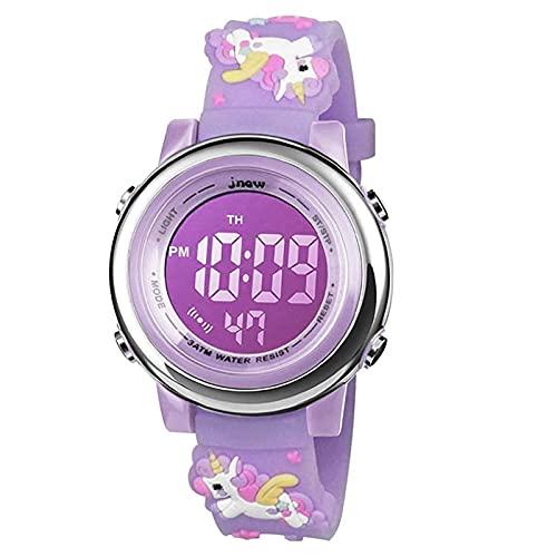 HIMTOR Reloj Digital para Niños Niña, Luz Intermitente LED de 7 Colores Reloj de Pulsera Niña Multifunción, para Niños de 3 a 12 años (Unicornio Morado)
