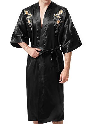 MORCOE Men's Chinese Dragon Embroidered Satin Kimono Yukata Long Robe Soft Loungewear Nightgown Pajamas with Pockets Gift (Style2 Black(one-Side wear))