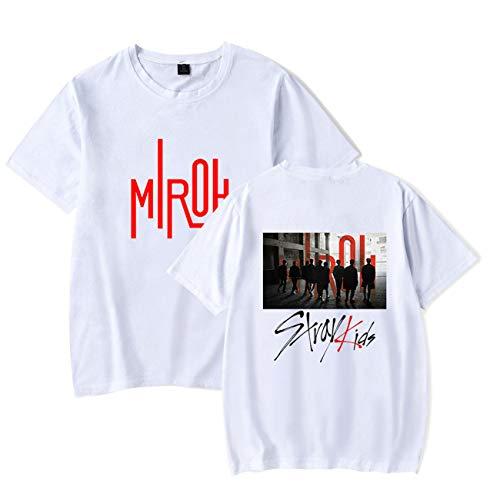 Mujer Camiseta Stray Kids t Shirt con Soporte de abanicos MIROH KPOP Camisetas de Manga corta-77-White-M