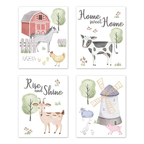 Sweet Jojo Designs Farm Animals Wall Art Prints Room Decor for Baby  Nursery  and Kids - Set of 4 - Watercolor Farmhouse Horse Cow Sheep Pig Home Sweet Home