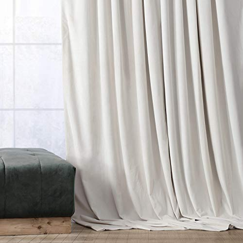HPD Half Price Drapes VPCH-120601-120 Signature Blackout Velvet Curtain (1 Panel), 50 X 120, Alabaster Beige