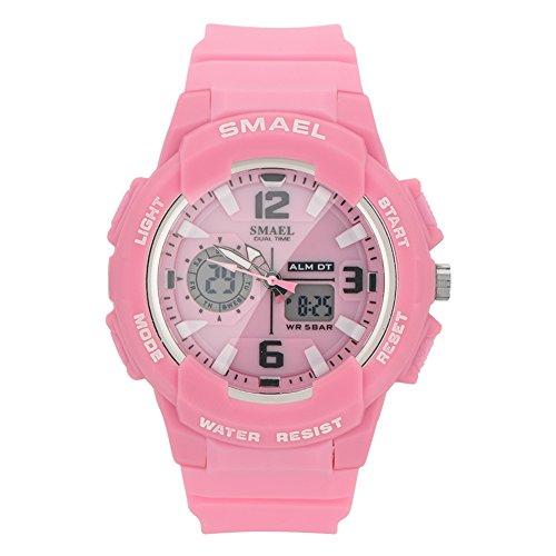 VGEBY1 Quarzuhr, Wasserdichte Digitale Analoge Anzeige Runde Uhr Elektronische Armbanduhr für Männer, Frauen(Rosa)