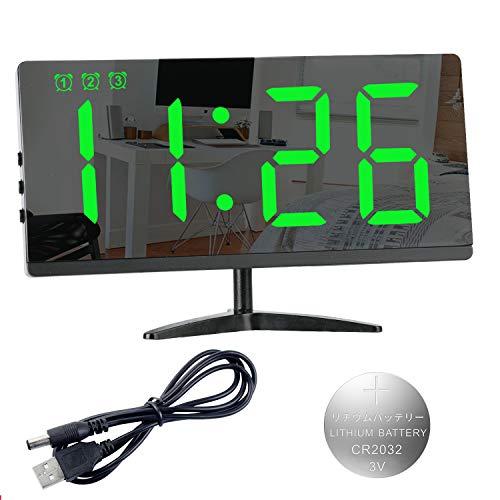 Reloj Despertador Digital,LED de Números Grandes Superficie de Espejo de Alarma de 3 Grupos Repetición Niveles de Brillo Volumen Puerto de Cargador USB Ajustable Dormitorio Sala de Estar Oficina