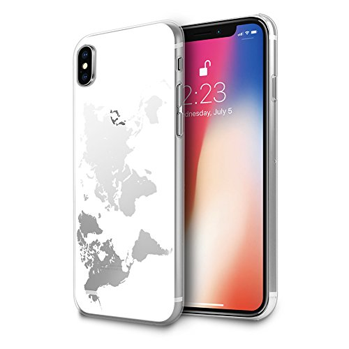 HelloGiftify iPhone Xs, iPhone X Case, White Map TPU Soft Gel Protective Case for iPhone Xs