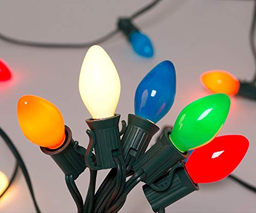 Christmas Lights (25FT) Goothy 5 Multi-Color Outdoor & Indoor Light for Christmas Holiday Party Wedding etc,25 Ceramic C7 Light (Plus 2 Extra Bulbs)