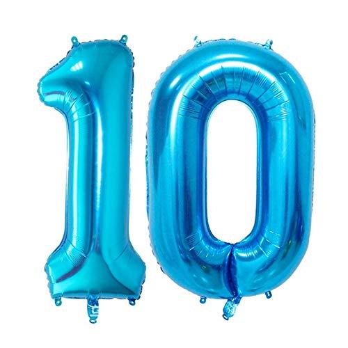 DIWULI, XXL-nummerballonnen, nummer 10, Ijsblauwe ballonnen, nummerballonnen, folieballonnen aantal jaren, folieballonnen blauw voor 10e verjaardag, bruiloft, feest, decoratie, geschenkdecoratie