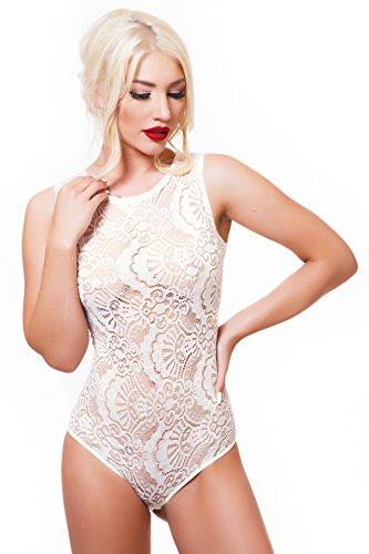 Evoni Damen-Body XL=42 aus Spitze |ärmelloses Damen Top | 3 Verschluss Haken | Sommer Damen Bodysuit |sexy Frauen Tanz-Body Creme-weiß| Reizwäsche mit floraler Spitze | Damen T-Shirt Body | Jumpsuit