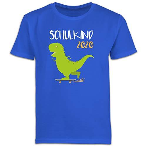 Einschulung und Schulanfang - Schulkind 2020 - Dino mit Skateboard - 128 (7/8 Jahre) - Royalblau - Dinosaurier Geschenke - F130K Schulanfang - Schulanfang Jungen T-Shirt Kinder
