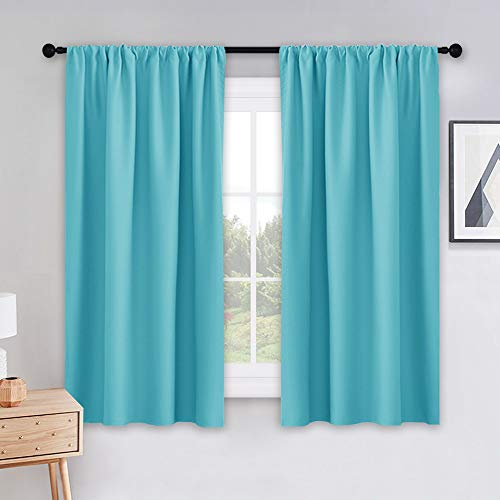 PONY DANCE Blackout Curtains Set - Window Treatments Rod Pocket Draperies Energy Efficient Light Block Curtain Panels for Kids' Room Kitchen & Bathroom, W 42 by L 45 inches, Caribbean, 2 Pieces
