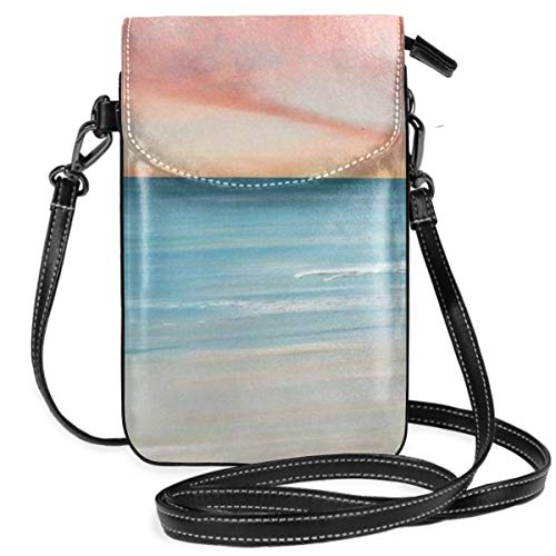 TTmom Carteras de Mujer, Monedero, Watercolor Painting Seasie Sunset Cell Phone Wallet Purse - Compatible