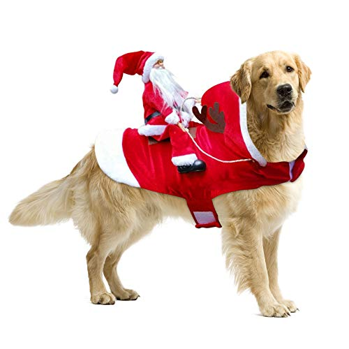 Dog Christmas Costume Santa Claus Riding Horse S - XXL Christmas Dog Clothes with Reindeer Antlers Warm Cute Cat Pet Christmas Costumes Christmas Dog Presents (L)