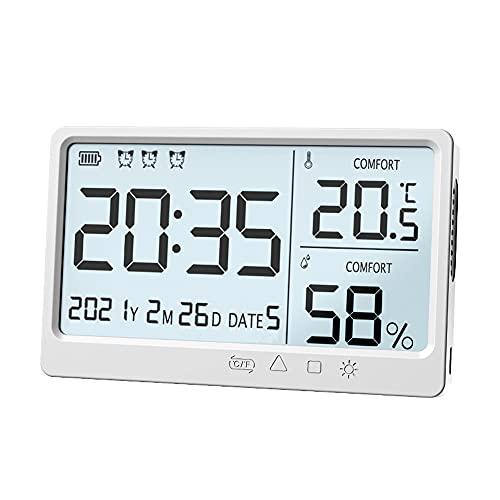 Staright Medidor de humedad de temperatura electrónico LCD Reloj despertador higrómetro de temperatura de alta precisión electrónico