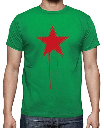 latostadora - Camiseta Estrella Roja Grunge para Hombre Verde Pradera XL