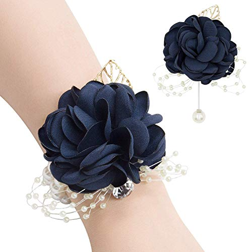 Milisente navy floral clutch with Corsages and Boutonniere Pins Set