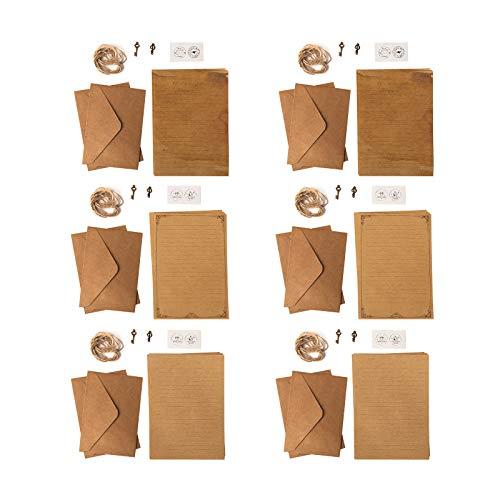 Gwotfy Briefpapier und Umschläge Set Briefpapier mit Umschlag Vintage 24 Blatt Vintage Briefpapier 12 Kraft Umschläge 12 Retro-Schlüssel 12 Hanfseile und 12 Aufkleber für Einladung Crafting