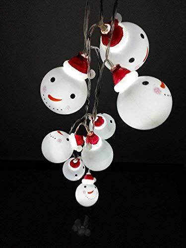 Shanke LED Lichterkette Schneemann Weihnachtsbeleuchtung Höhe Batterie außen Deko transparentes Kabel beleuchtet Weihnachtsdeko 3.5m 20 LED für Party Xmas Innen/Außen Haus Deko String Lights (Weiß)