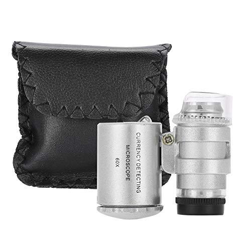 60X Mini Mikroskop Taschenlupe, tragbare Lupenlupe mit LED-Licht, einstellbare UV-Licht Gelddetektor Lupe, Lupe für Schmuck und Währung