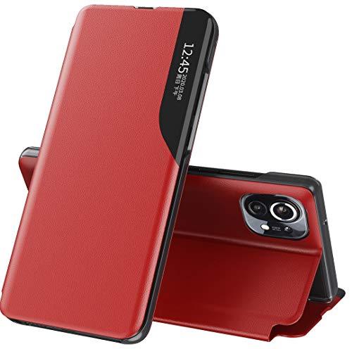 """Mking Tech Funda de Cuero Inteligente de Alta Gama para Xiaomi Mi 11[6.81""""] 5G. 9/S 20 FE/Poco x3 NFC/ 11 /Redmi Note 9 T/S 30.Voltear/Suspender/Activar/Cubierta de Cuero Rojo"""