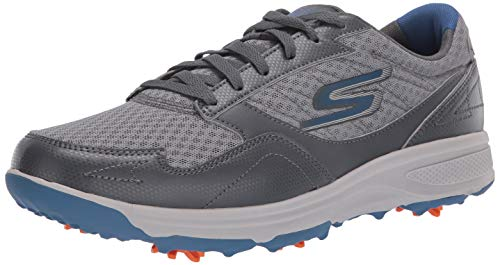 Skechers Men's Torque Sport Fairway Relaxed Fit Spiked Golf Shoe, Charcoal Blue, 9.5 M US