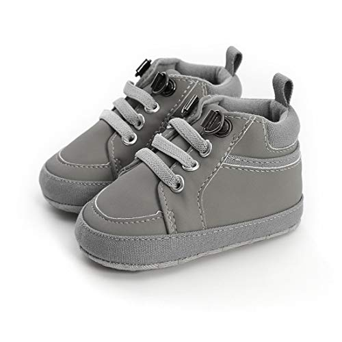 LAFEGEN Baby Boys Girls Oxford Dress Shoes Non Slip Lace Up Sneaker PU Leather Moccasins Newborn Infant Toddler Loafers First Walker Crib Shoes 3-18 Months, Baby Shoes 6-12 Months Infant, 05 Grey