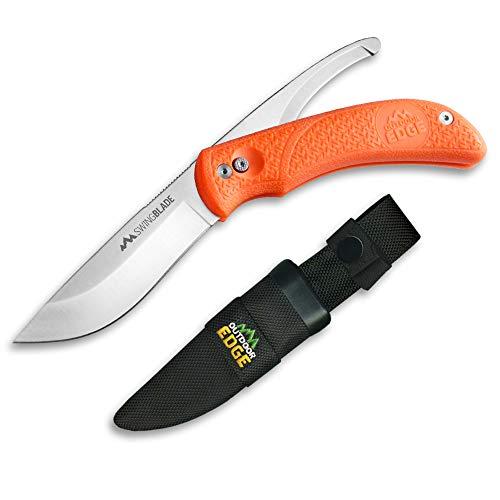 OUTDOOR EDGE Swing Blaze Couteau à Lame Fixe Mixte Adulte, Orange/Gris, 90 mm