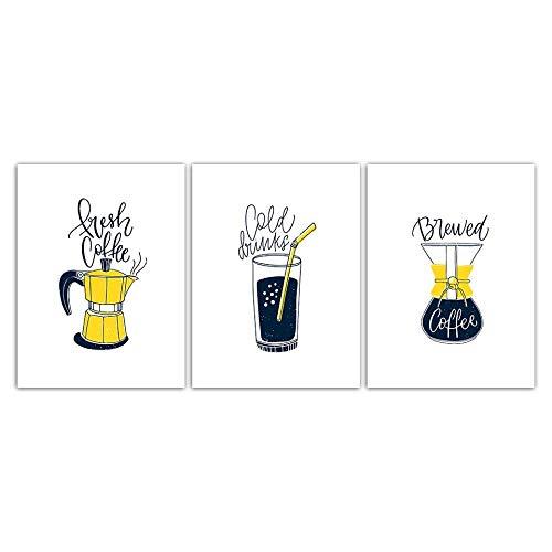 YDGG wandafbeelding, bedrukt, foto's, lekkere dranken, canvas, prinses, voor kinderkamer, decoratie thuis, 50 x 70 cm x 3 stuks zonder lijst