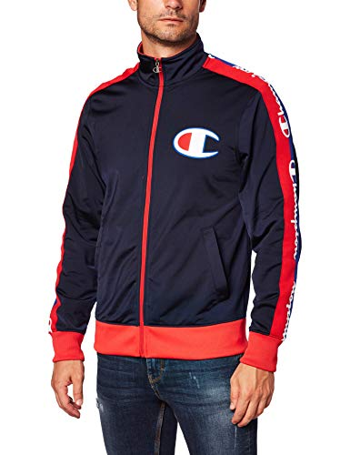 Champion LIFE Men's Track Jacket, Navy/Scarlet, Medium