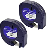 Sumedtec - Pack de 2 uds x Compatible con DYMO LetraTag 12267 S0721530 S0721550 negro sobre transparente 12mm x 4m Cintas de plástico para impresoras de etiquetas Dymo LetraTag LT100H LT100T LT110T
