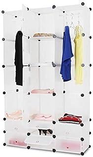 Miadomodo® Armoire en Plastique - Portable, 10 Cubes Fermés, 2 Ouverts, 2 Tiges Suspendues, 110x180x37 cm, Blanc - Penderi...