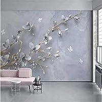 Iusasdz カスタム写真の壁紙モダンでシンプルな3Dステレオマグノリアフラワーバタフライ壁画リビングルームテレビソファ寝室の背景壁の装飾-250X175Cm