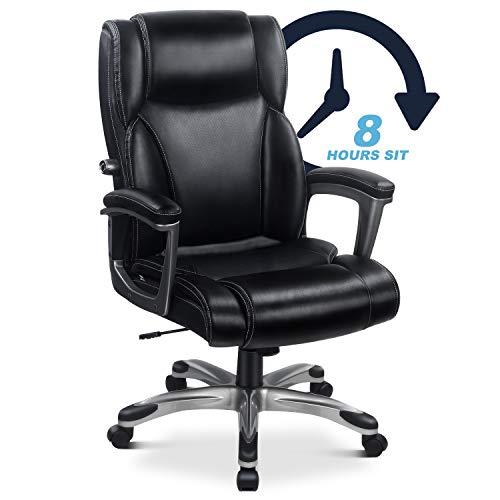 High Back Executive Leather Office Chair Desk Chair Home Computer Chair with Memory Foam & Adjustable Lumbar for Females Males, Office Home Use (Black)