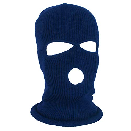 Jackallo Mascarilla de punto con 3 agujeros Caliente máscara de punto elástico de esquí de invierno pasamontañas Azul