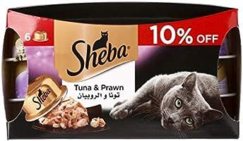 Sheba Tuna and Prawn Cat Food - 6 x 80 gm