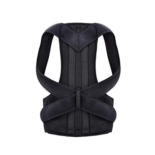 Corrector de hombro magnético de postura trasera, cinturón de terapia de oficina, cinturón de trabajo para apoyos de cinturón y postura de hombro (color negro, tamaño: grande)