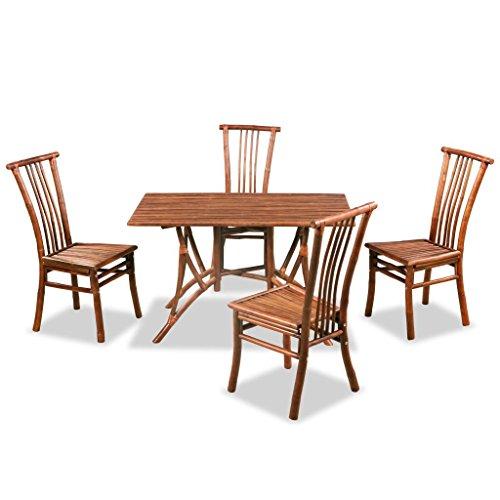 Festnight Set da Pranzo Tavolo Rotondo/Rettangolare e 4 Sedie con Schienale in Bambù,Set Tavolo e Sedie da Giardino Esterno in Bambù