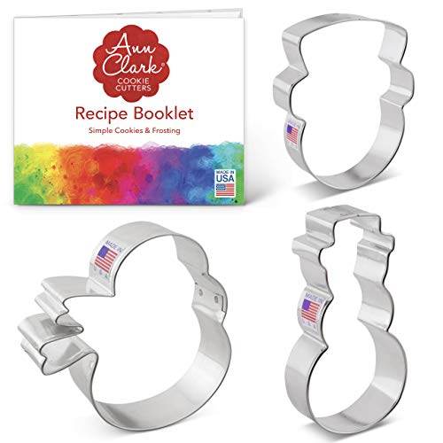 Ann Clark Cookie Cutters 3-Piece Snowman Cookie Cutter Set with Recipe Booklet, Snowman Face, Snowman and Snowman with Scarf