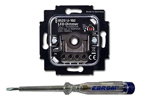 BUSCH-JÄGER, LED-Drehdimmer (LED Dimmer) 6523 U-102 inkl. EBROM Phasenprüfer zur Montage des Dimmers 6523U-102 – Mindest- und Höchsthelligkeit - Phasenanschnitt oder Phasenabschnitt einstellbar