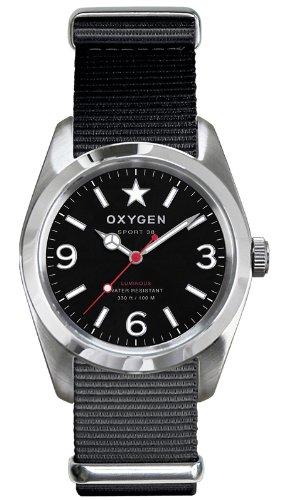 Oxygen Unisex-Armbanduhr Washington 38 Analog Quarz Nylon EX-S-WAS-38-BL
