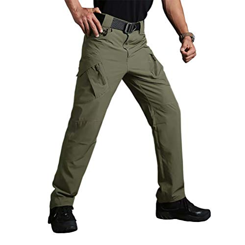 BIYLACLESEN Men's Outdoor Ripstop Military Pants Multi Pockets Lightweight Quick Dry Cargo Hiking Camping Pants