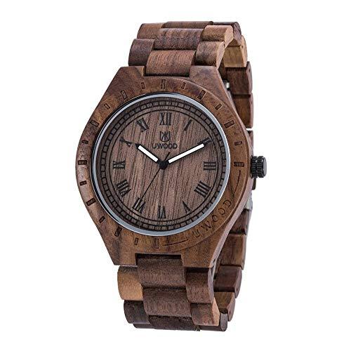 UWOOD Handmade Wooden Watch Vintage Elegant Men Watch Orologio al quarzo movimento giapponese Luminoso orologio da polso casual - Black Walnut Wood