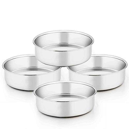 TeamFar 6 Inch Cake Pan, 4 Pcs Round Tier Cake Pans Set Stainless Steel for Baking Steaming Serving, Fit in Oven Pot Air Fryer, Healthy & Heavy Duty, Mirror Finish & Dishwasher Safe