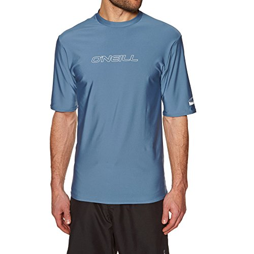 O\';Neill Basic Skins Kurzarm Rash T-Shirt T-Shirt Oberteil Dusty Blue Slim Fit - UV-Sonnenschutz und SPF-Eigenschaften
