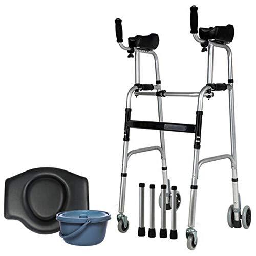 SXRL Falten Alu Gehhilfe Leicht Arthritis Rollator Fahrbarer Toilettenstuhl Nachtstuhl Für ältere Menschen mit eingeschränkter Mobilität (41.7~47.6in)