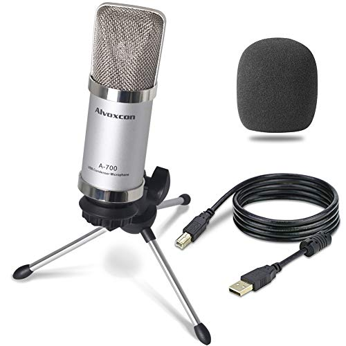 USB Microphone, Alvoxcon Unidirectional Condenser PC microphone for Computer (Mac/Windows), Podcasting, Vlog, Youtube, Studio Recording, Stream, Voice Over, Vocal Dictation with Desktop Tripod Stand