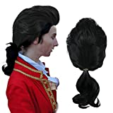Anogol Hair Cap + Black Long Men's Anime Cosplay Wig with Ponytail Costume Synthetic Hair Wigs For Halloween