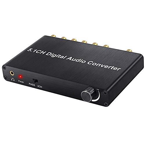 VBARV Convertidor De Audio Digital, con Decodificador SPDIF Entrada a 5.1CH Convertidor De Audio Digital, Soporte Dolby AC-3 DTS 5.1 2.0CH para BLU-Ray DVD, Xbox 360, PS4