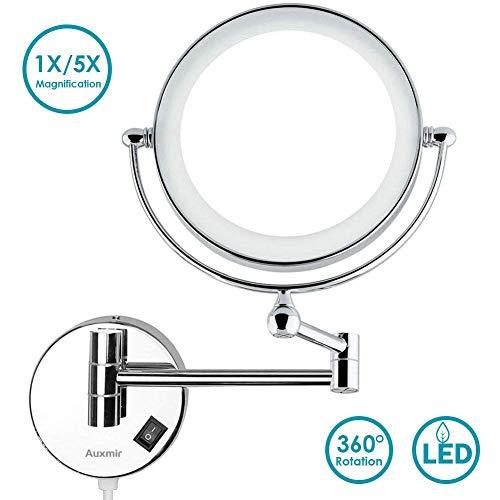 Auxmir Kosmetikspiegel mit LED Beleuchtung und 1-/ 5-facher Vergrößerung aus Kristallglas, Edelstahl und Messing für Badezimmer, Kosmetikstudio, Spa und Hotel