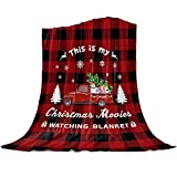 Singingin Christmas Truck Blanket Super Soft Flannel Fleece This is My Christmas Movie Watching Blanket Tree Truck Red Buffalo Check Throw Blanket Cozy Fuzzy Plush Blankets for Couch Sofa 40x50inch