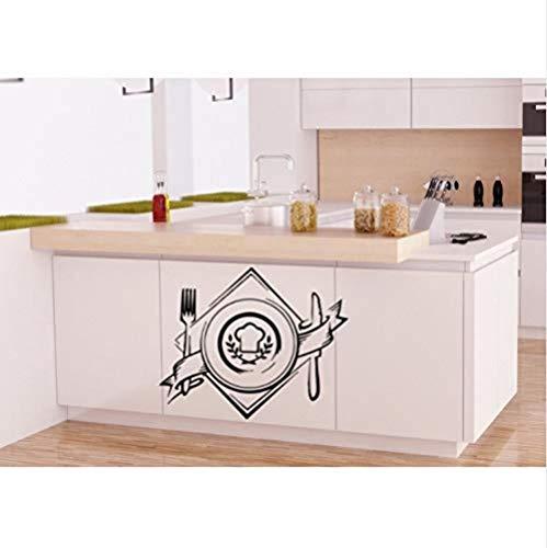 Woonkamer Muurstickers Café Winkel Logo Art Design Mes en Vork Patroon Muurstickers Home Art Keuken Raam Decoratie Muurschildering Stickers Wm-099 42X53Cm